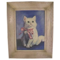 Vintage Oil Painting of White Kitten with Bow Signed