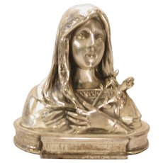 Vintage Silver Plated Bust Virgin Mary Statue Philadelphia Manufacturing Co.