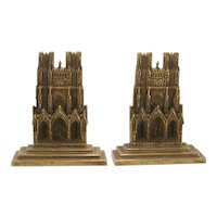 Vintage Brass Rheims Cathedral Bookends C.1920