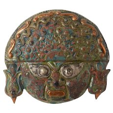 Mexican - South American Copper & Silver Hand Made Mask