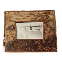 Vintage Adirondack Birch Bark and Pine Needle Frame with Fishermen Photo