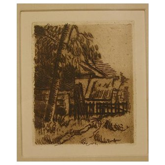 """Paul Cezanne Etching - """"Paysage a' Anvers"""""""