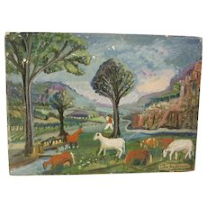 Naive Folk Art Landscape Painting Oil on Canvas Cows Horses Signed C.1940