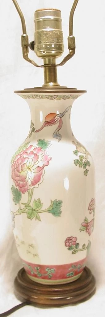 Small Hand Painted Porcelain Oriental Table Lamp Ago