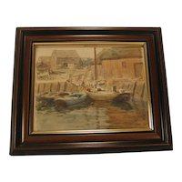 Small Impressionist Watercolor Painting Wharf Scene Unsigned
