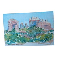 Original Roberta Rogers Miniature Watercolor Painting Desert Landscape
