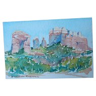 Original Roberta Rogers Miniature Watercolor Painting Desert Landscape