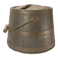 Wooden Shaker Bucket Kerosene Pail Domed Top As Is