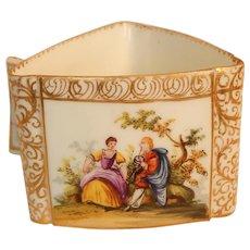 Antique Dresden Hand Painted Porcelain  Cup Romantic Scenes Triangle Shape