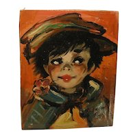 Signed Dupont Paris Oil Painting Street Urchin Child Vintage