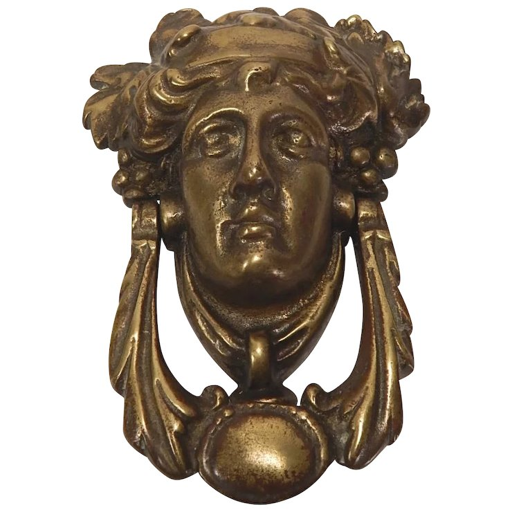Victorian Brass Figural Door Knocker Bacchus Head - Victorian Brass Figural Door Knocker Bacchus Head : Ago Ruby Lane
