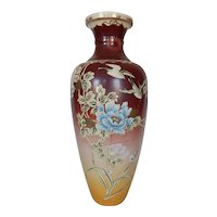 "Big 18 1/4"" Antique Satsuma Vase Oriental Birds Flowers"