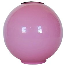 Antique Pink Cased Glass Oil Lamp Globe Shade