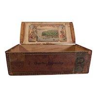 Rare 100 Ct Manhatta Antique Wooden Cigar Box