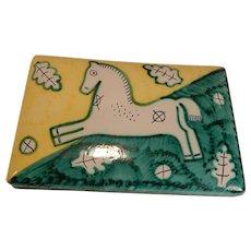 Cantagalli Italy Pottery Box with Horse Mid Century Modern Italian As Is