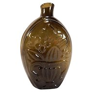 Antique Olive Green Flask Cornucopia and Urn C.1850