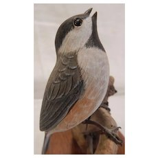 Carved Wood Chickadee Bird by Jim Boice