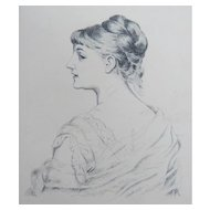 Antique Pen and Ink Drawing Portrait Young Woman Mystery Artist Signed