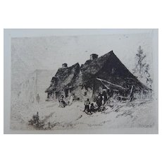 """Etching """"Negro Huts Near Wilmington N.C."""" by J.M. Falconer"""