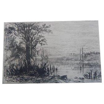 "Etching by Eliza Greatorex ""Pond at Cernay la Ville"" Original Antique"