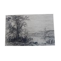 "Original Etching ""Pond at Cernay la Ville"" by Eliza Greatorex"