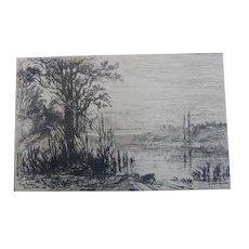 """Original Etching """"Pond at Cernay la Ville"""" by Eliza Greatorex"""