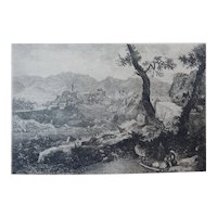 "Etching by George Loring Brown ""View Near Rome"" Original Antique"
