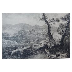 """Etching by George Loring Brown """"View Near Rome"""" Original Antique"""