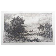 """Etching by Kruseman van Elten """"On The Shepang River"""" Original Antique"""