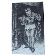 """Etching by William Merritt Chase """"The Court Jester"""" Original Antique"""