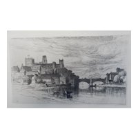 "Etching by Samuel Colman ""Durham England"" Original Antique"