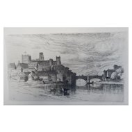 "Etching by Samuel Colman ""Durham England"" Original Antique"