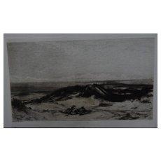 "Etching after Elihu Vedder ""The Sea Serpent"" Original Antique C.1880 by Stephen Alonzo Schoff"