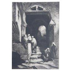 """Etching by Stephen J. Ferris """"The Devil's Way, Algiers"""" Original Antique 1879"""