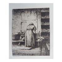 Henry Farrer Original Etching  Antique 1877