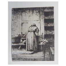 Henry Farrer Original Etching  Antique 1877