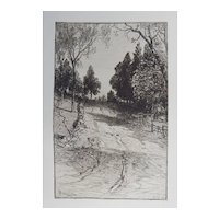 "Etching ""Up The Hill"" by James D. Smillie Original Antique C.1880"