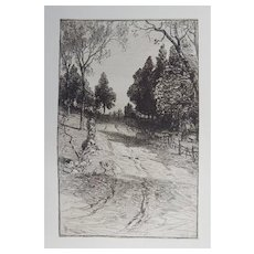 """Etching """"Up The Hill"""" by James D. Smillie Original Antique C.1880"""