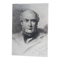 "Etching ""Portrait of Sir Gilbert Scott"" by Anna Lea Merritt Original Antique C.1880"