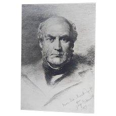 """Etching """"Portrait of Sir Gilbert Scott"""" by Anna Lea Merritt Original Antique C.1880"""
