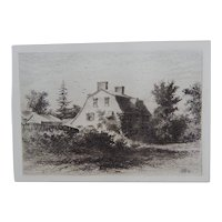 "Etching ""The Old Manse"" by Edmund Henry Garrett Original Antique 1879"