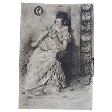 """Etching """"A Divination in Tea Leaves"""" by Alfred Brennan Original Antique 1879"""