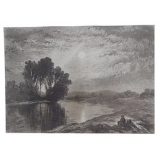 """Etching and Aquatint """"Moonlight on the Androscoggin"""" by John Henry Hill Original Antique C.1880"""