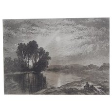 "Etching and Aquatint ""Moonlight on the Androscoggin"" by John Henry Hill Original Antique C.1880"
