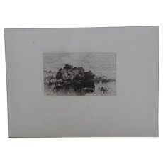 """Etching """"Old Mill Pond at Windsor, Connecticut"""" by Albert Fitch Bellows Original Antique C.1880"""