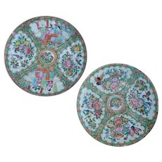 Two Chinese Export Porcelain Plates Both Damaged Figures, Flowers, Butterflies