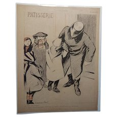 Hermann Paul French Art Deco Magazine Satire Comic Illustration Man and Boy in City Street C.1905