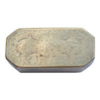 Antique Brass Tobacco Box C. 1800 Hand Chased