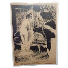 Pierre Louis Moreau French Risque Magazine Illustration Nude Boudoir Scene with Maid C.1905