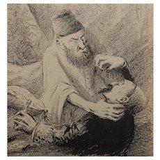 French Anti-Semitic Magazine Satire Cartoon Illustration Yiddish man strangling other man C.1905